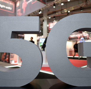 A logo of the upcoming mobile standard 5G is pictured at the Hanover trade fair, in Hanover, Germany March 31, 2019
