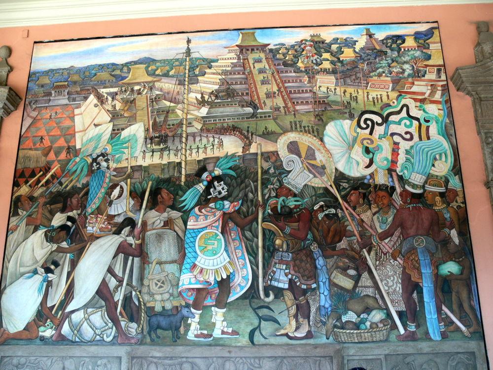 Un affresco murale di Diego Rivera mostra la vita religiosa azteca all'epoca di Tenochtitlàn. Palazzo Nazionale del Messico.