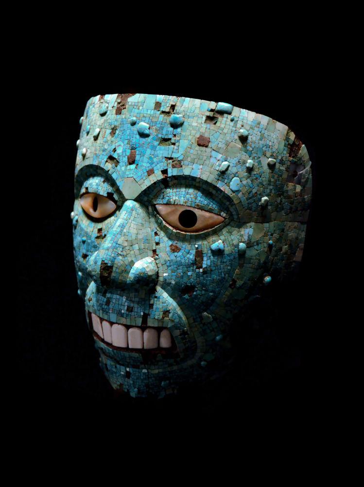 Maschera azteca mosaico turchese di Xiuhtecuhtli: il Dio del fuoco o Signore della pietra turchese, 1400-1521 a.c., Il British Museum