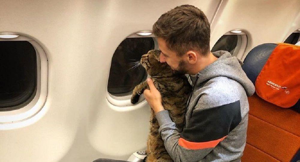 Mikhail Galin con il suo gatto Viktor