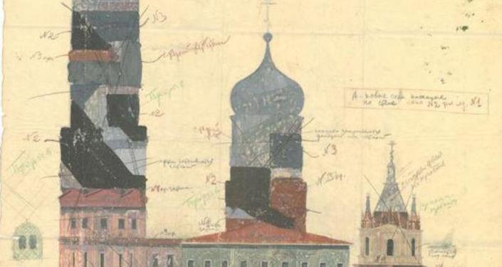 Sezione del progetto per nascondere le cattedrali del Cremlino