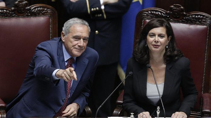 Il presidente del Senato Pietro Grasso e il presidente della Camera Laura Boldrini in una foto.