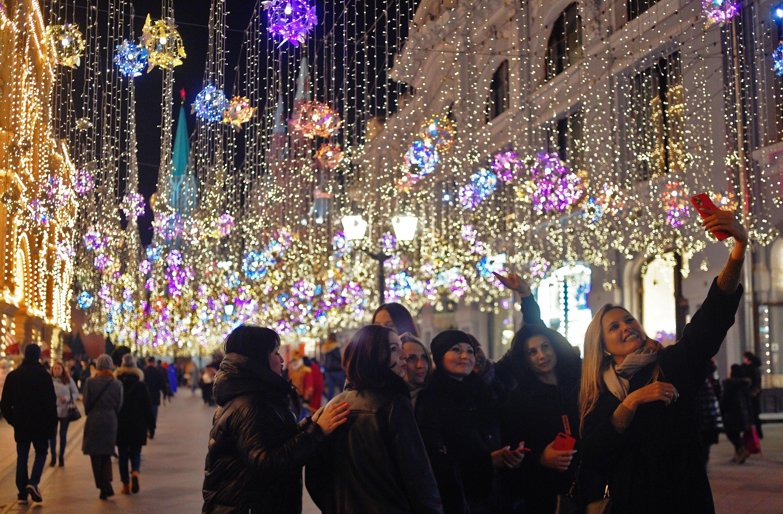 Addobbi natalizi in centro a Mosca