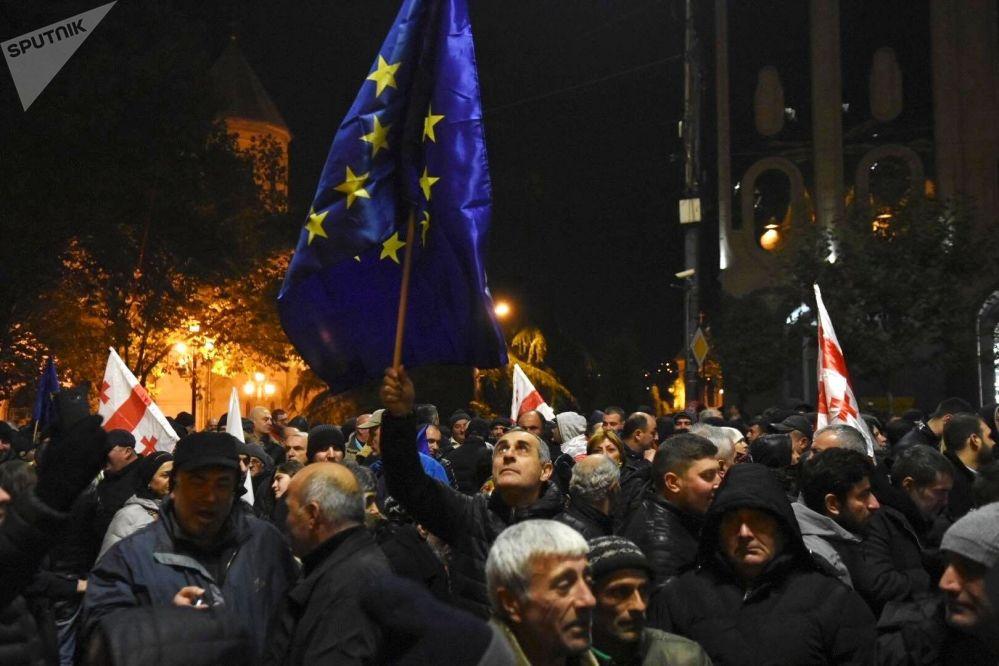 Manifestazioni pro UE a Tbilisi, in Georgia.