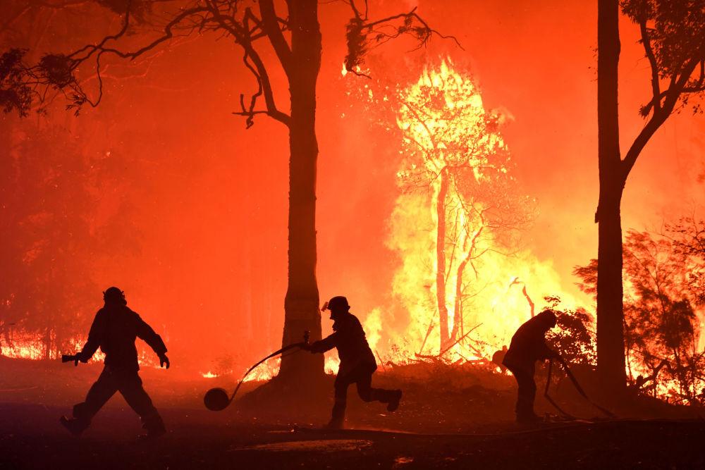 Volontari, vigili del fuoco e protezione civile contro il vasto incendio boschivo nel Nuovo Galles del Sud, in Australia.