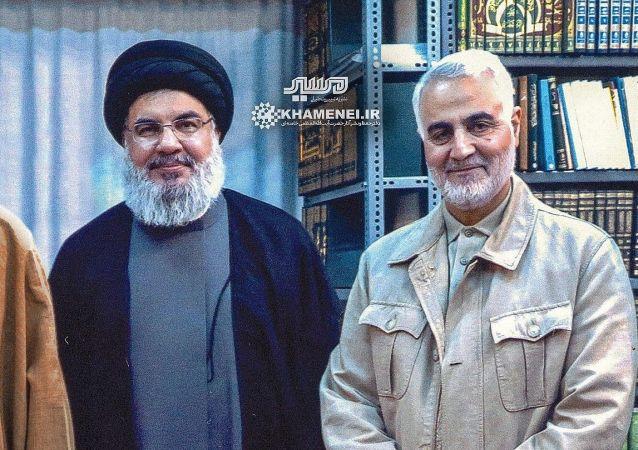 Il capo di Hezbollah Hassan Nasrallah e il comandante della Forza Quds del Corpo delle guardie rivoluzionarie islamiche Qassem Soleimani