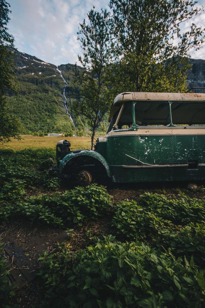 Un autobus abbandonato in Norvegia