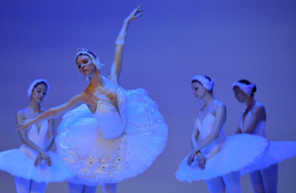 Ballerine di balletto russe alle prove de Il lago dei cigni al teatro Colon a Bogotà, in Colombia.