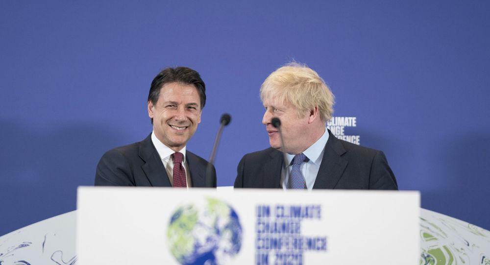 Londra, 04/02/2020 - Il Presidente del Consiglio, Giuseppe Conte, all'evento di lancio della COP26 con il Primo Ministro del Regno Unito Boris Johnson.