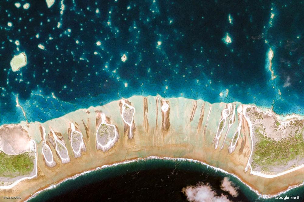 Vista dell'area intorno alle isole di Tuamotu e Gambier, Polinesia francese