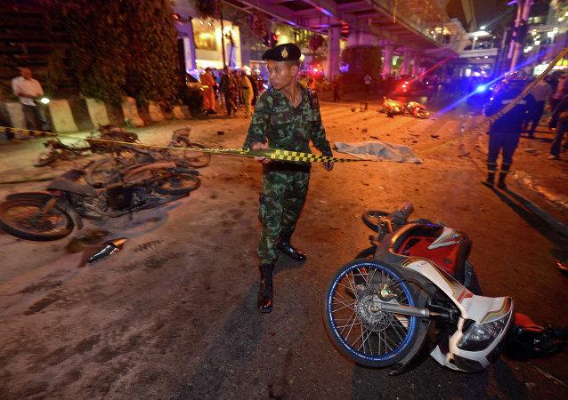 Dopo l'esplosione a Bangkok, Thailandia.